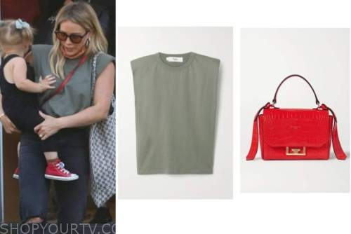 hilary duff, green top, red bag