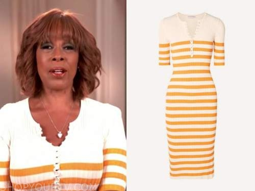cbs this morning, yellow striped knit, gayle king