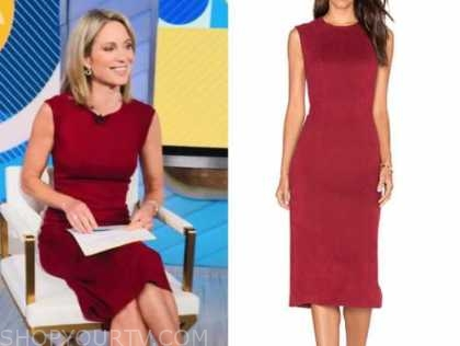 amy robach, red suede sheath dress, good morning america