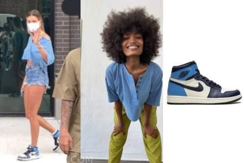 hailey bieber, blue top, blue sneakers