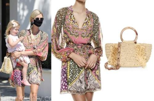 nicky hilton, paisley dress, straw bag