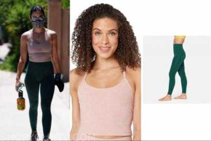 lucy hale, pink crop top, green leggings