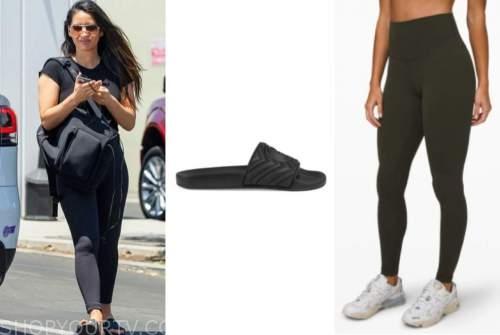 olivia munn, black slides, black leggings