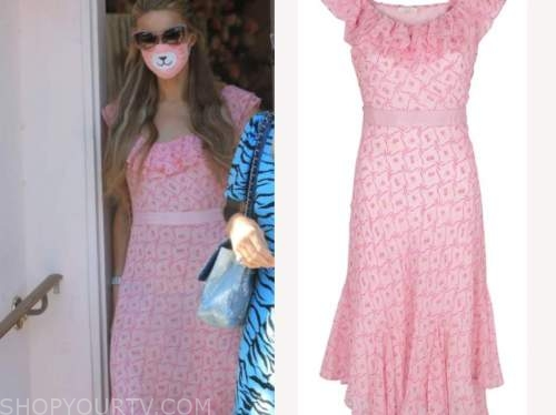 paris hilton, pink floral dress