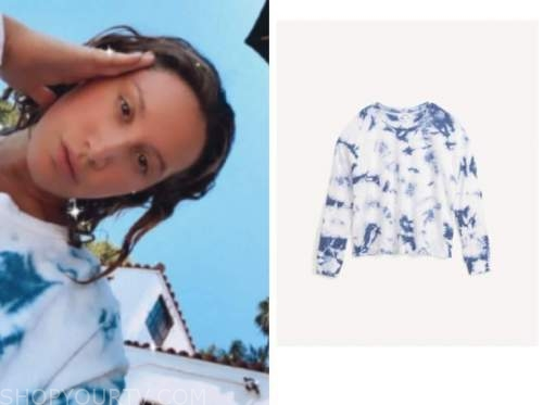 ashley tisdale, blue tie dye sweatshirt