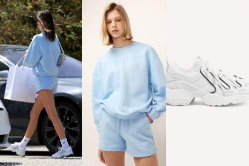 kendall jenner, blue sweater and shorts, white sneakers