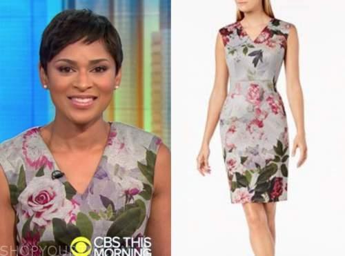 jericka duncan, grey floral sheath dress, cbs this morning