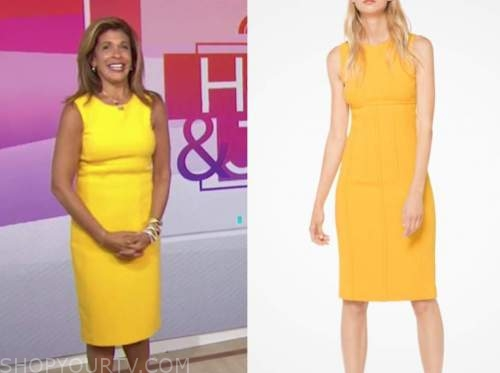 hoda kotb, the today show, yellow sheath dress
