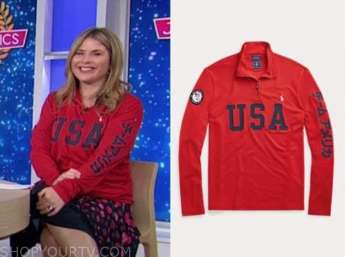 jenna bush hager, red USA pullover, the today show