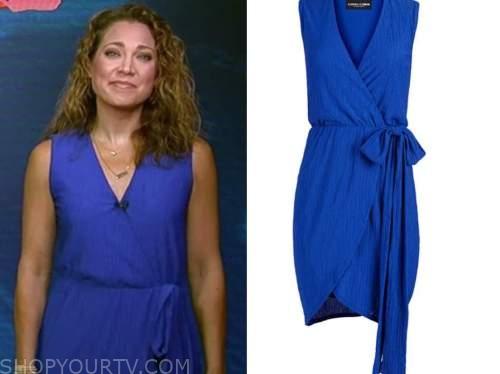 ginger zee, blue wrap dress, good morning america