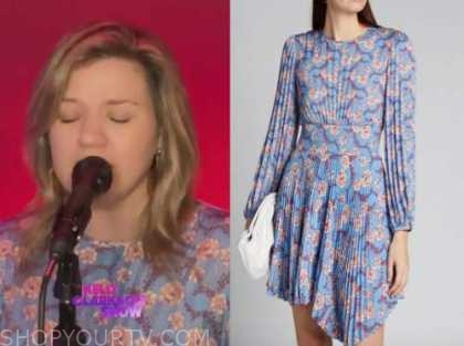 kelly clarkson, blue and pink floral pleated dress, the kelly clarkson show