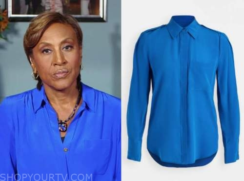 robin roberts, blue silk button down blouse, good morning america