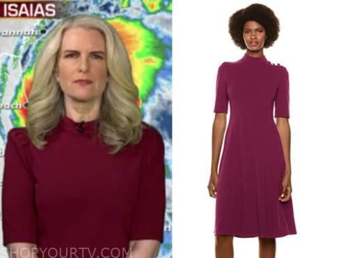 janice dean, fox and friends, burgundy mock neck dress