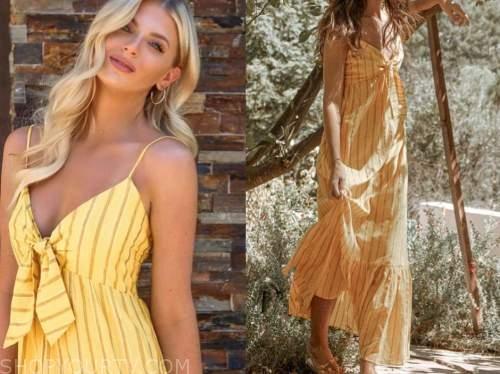 haley ferguson, the bachelor, yellow striped knot dress