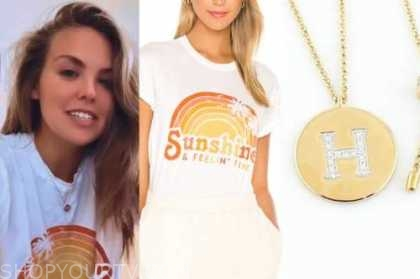 hannah brown, the bachelorette, sun graphic tee, gold pendant necklace