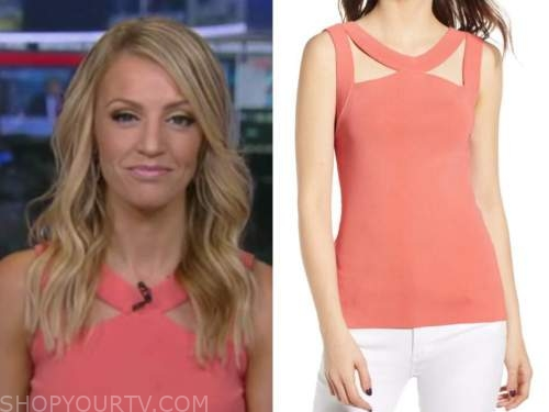 carley shimkus, fox and friends, coral knit cutout top