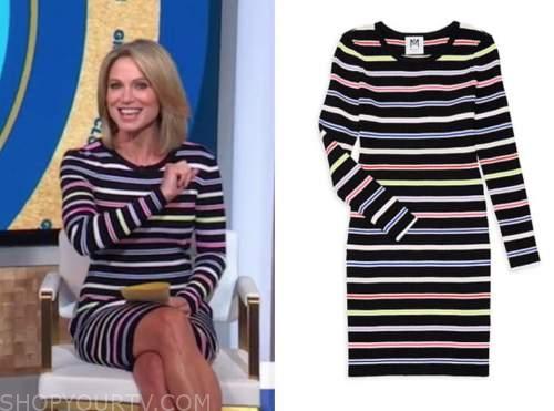 amy robach, good morning america, striped knit dress
