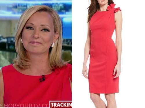 sandra smith, america's newsroom, red bow shoulder sheath dress
