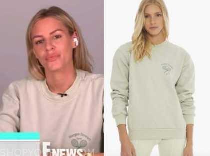 E! news, daily pop, morgan stewart, green tennis sweatshirt
