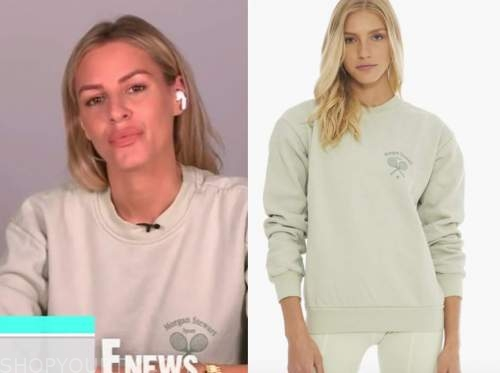 E! news, daily pop, morgan stewart, green tennis sweatshirt