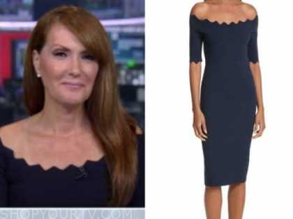dagen mcdowell, outnumbered, navy scallop off-the-shoulder dress