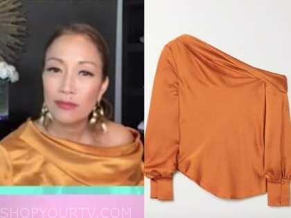 carrie ann inaba, orange satin top, the talk