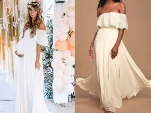 tenley molzahn, the bachelor, white off-the-shoulder maxi dress