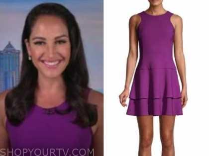 emily compagno, the five, purple dress