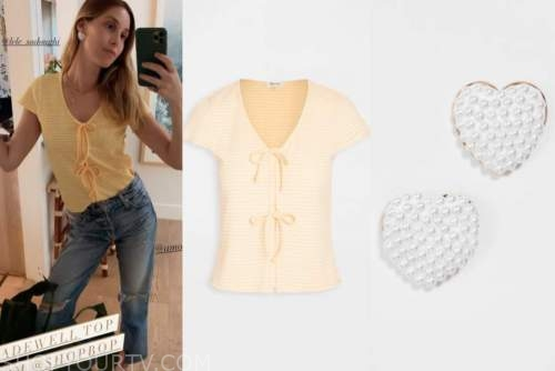 whitney port, yellow top, pearl heart earrings