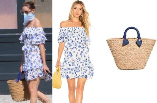 olivia palermo, blue and white printed off-the-shoulder dress, straw bag