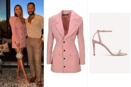 chrissy teigen, pink blazer dress, sandal heels