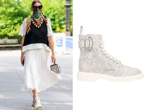 olivia palermo, embellished sneakers