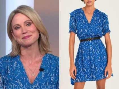 amy robach, blue printed ruffle mini dress, good morning america