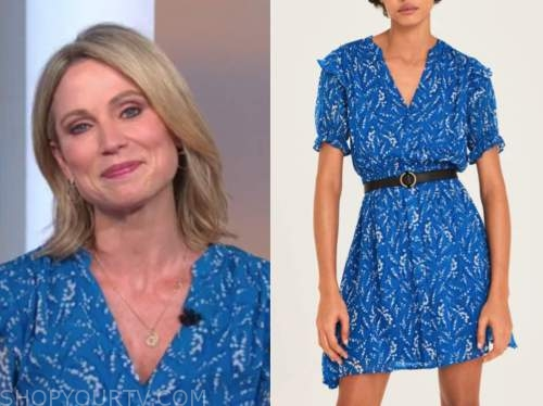 amy robach, blue printed ruffle mini dress, good morning america