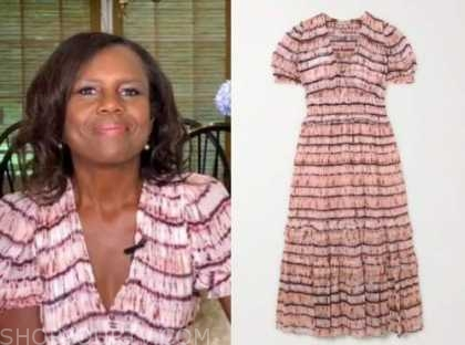 deborah roberts, good morning america, tie dye midi dress