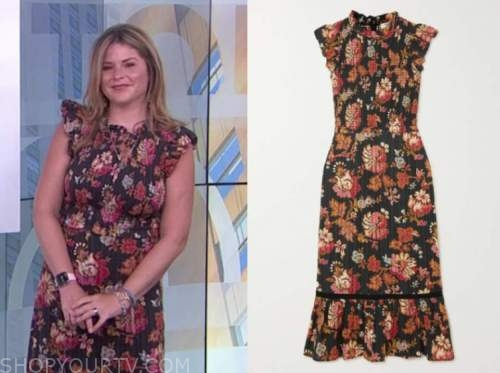 jenna bush hager, the today show, black floral smocked midi dress