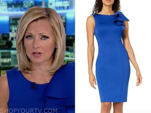 sandra smith, america's newsroom, blue ruffle sheath dress