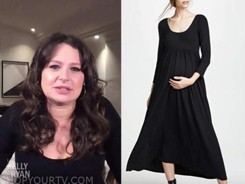 katie lowes, black scoop neck maternity dress, live with kelly and ryan