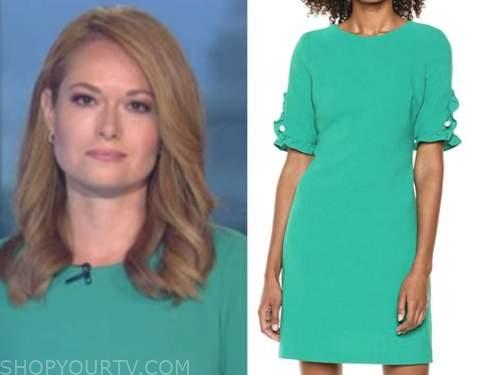 gillian turner, outnumbered, green pearl ruffle sleeve dress