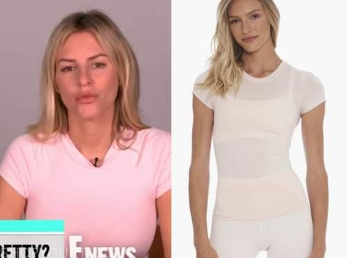 morgan stewart, blush pink tee, E! news, daily pop