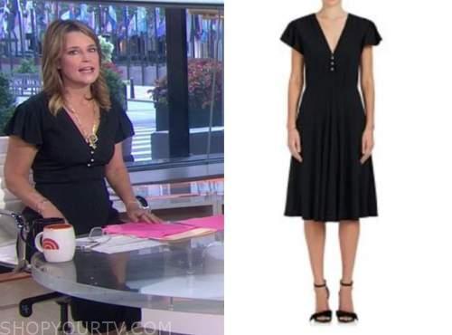 savannah guthrie, black pearl button dress, the today show
