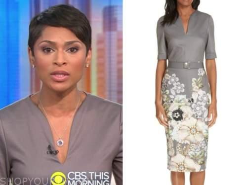 jericka duncan, cbs this morning, grey floral sheath dress