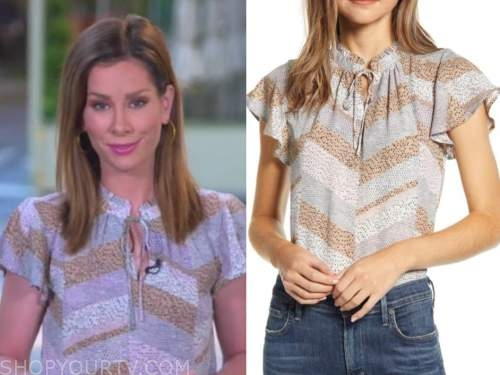 rebecca jarvis, good morning america, mixed print top
