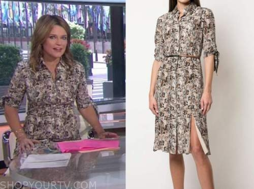 savannah guthrie, snakeskin shirt dress, the today show