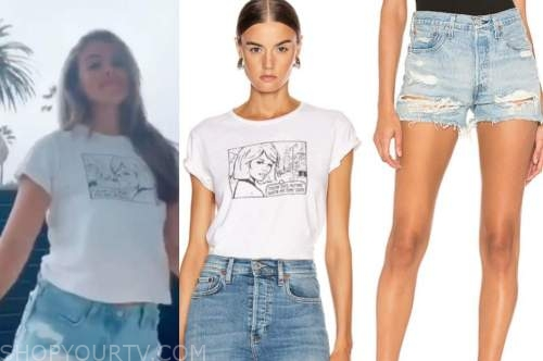 hannah brown, the bachelorette, graphic tee, denim shorts