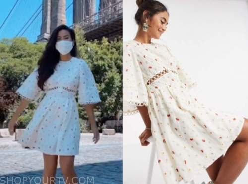 caila quinn, the bachelor, embroidered floral lace dress