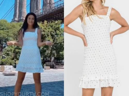 caila quinn, white polka dot ruffle dress, the bachelor