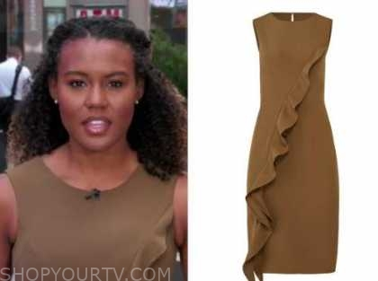 good morning america, janai norman,brown ruffle sheath dress