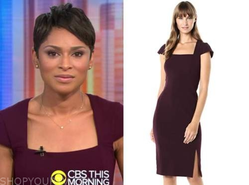 jericka duncan, cbs this morning, burgundy square neck dress
