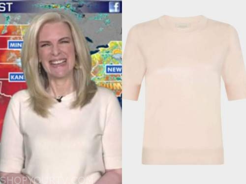 janice dean, ivory short sleeve sweater, fox and friends